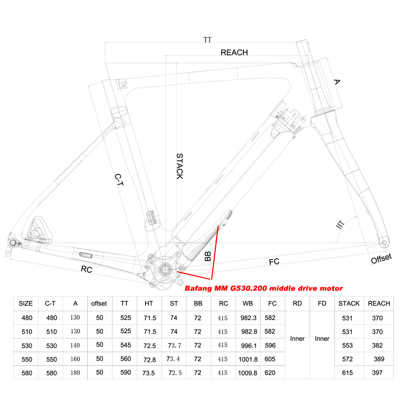 middle drive system disc road ebike geometry