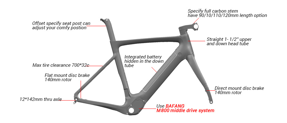 road ebike frame with Bafang motor